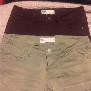 RSQ shorts - 2 pair (maroon and tan) size 5